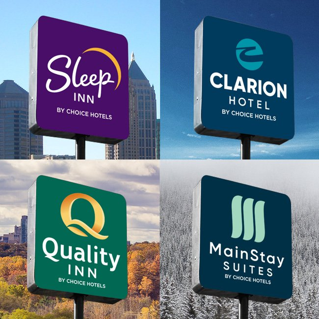Choice Hotels Sleep Clarion Quality Mainstay New Logos after branding
