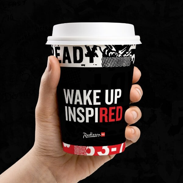 Radisson Red Branding Positioning Traditional Marketing Elements Printed Materials Cup