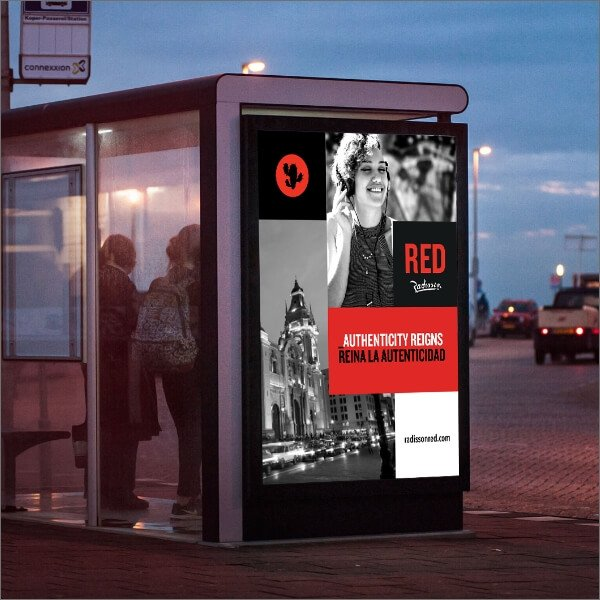 Radisson Red bus shelter out of home for launch campaign in Lima Peru